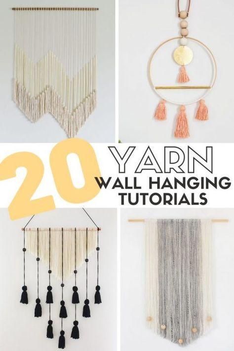 20 Easy DIY Yarn Wall Hanging Crafts