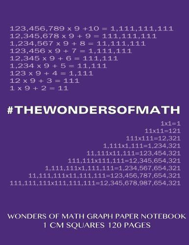 Wonders of Math Graph Paper Notebook 120 pages with 1 cm squares - math graph paper