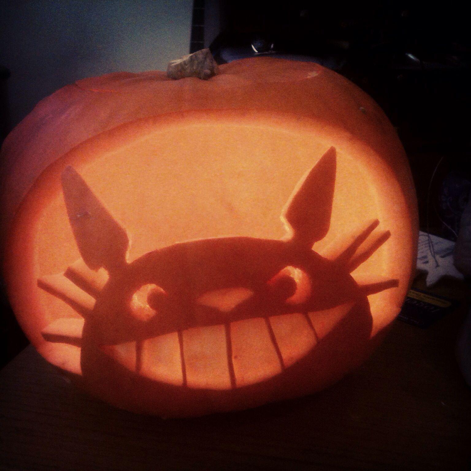 Totoro Pumpkin I Carved 3 Pumpkin Halloween Decorations Pumpkin Carving Pumkin Carving