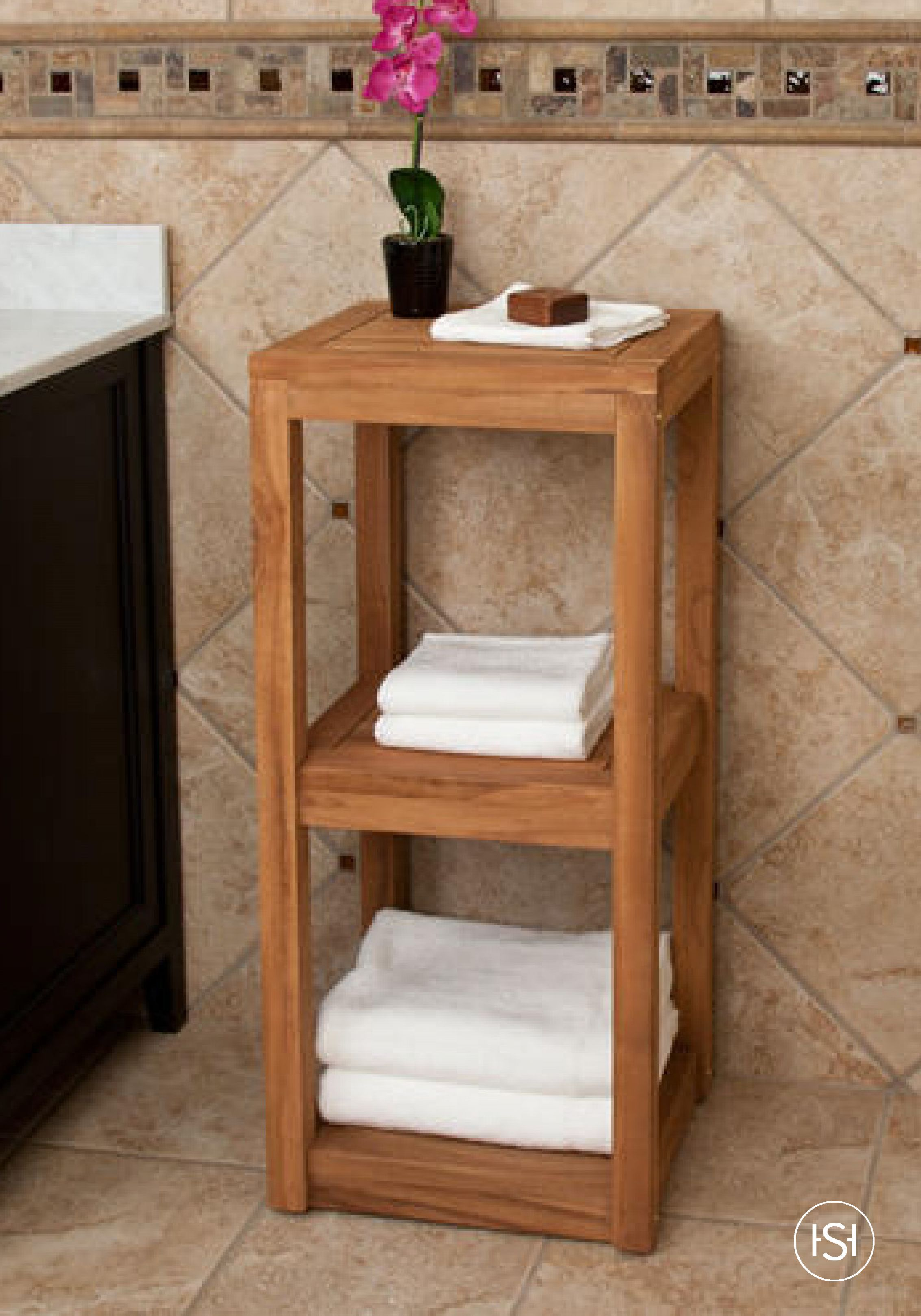 This Attractive Three Tier Teak Wood Towel Shelf Is Perfect For