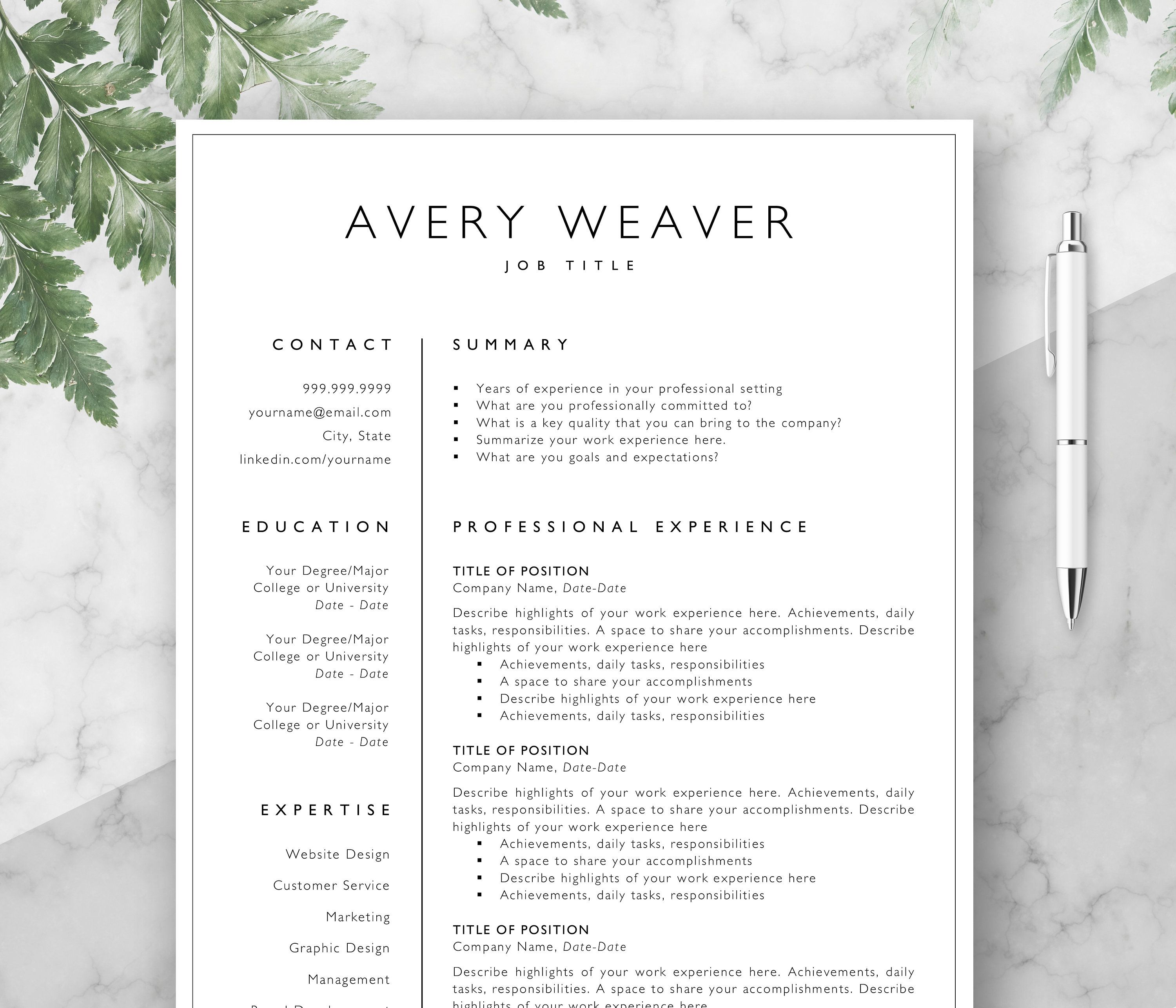 Resume Layout Microsoft Word Professional Resume Template Cv Curriculum Vitae Template Design .