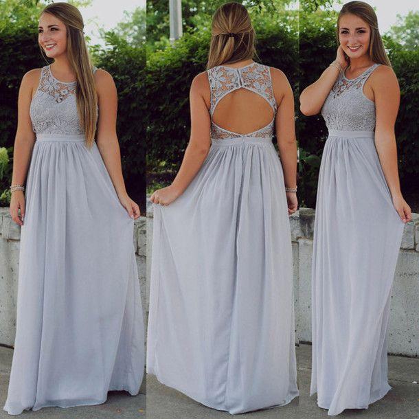 Simple Wedding Dresses For Fall: Silver Chiffon Long Bridesmaid Dresses,Lace Bridesmaid