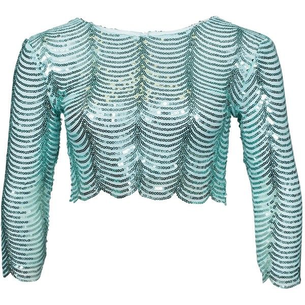 Tfnc Scalloped Sequin Top (64 CAD) ❤ liked on Polyvore featuring tops, mint, womens-fashion, sequin top, round neck top, mint green top, mint top and tfnc