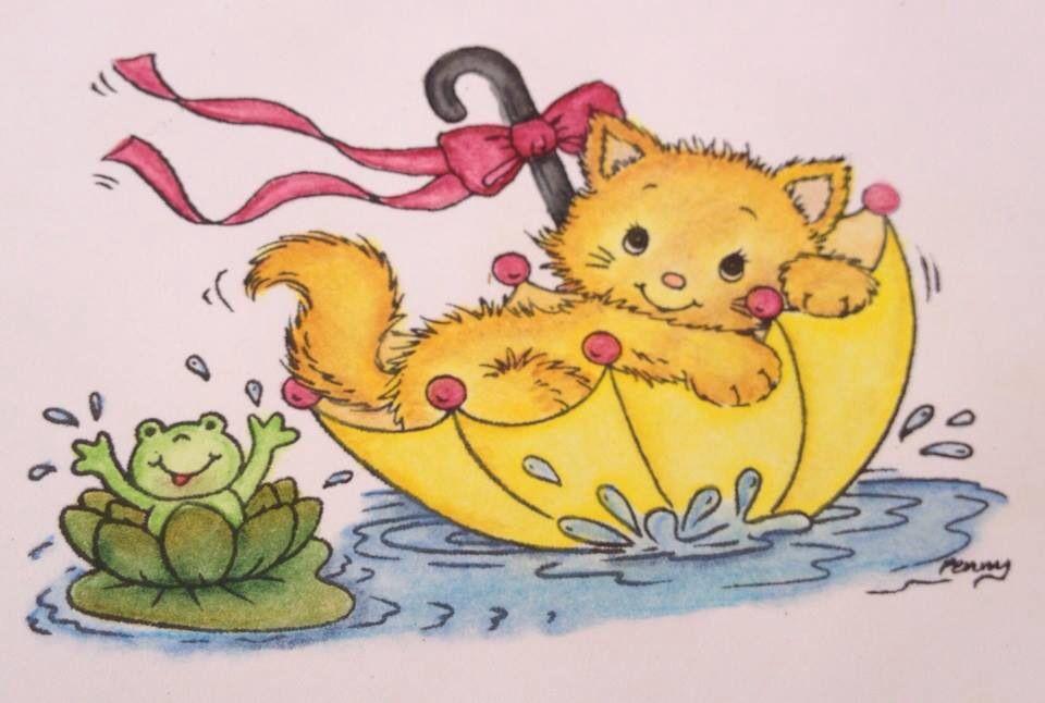 Un Gatito Tierno Dibujado A Con Colores Prismacolor Gatos