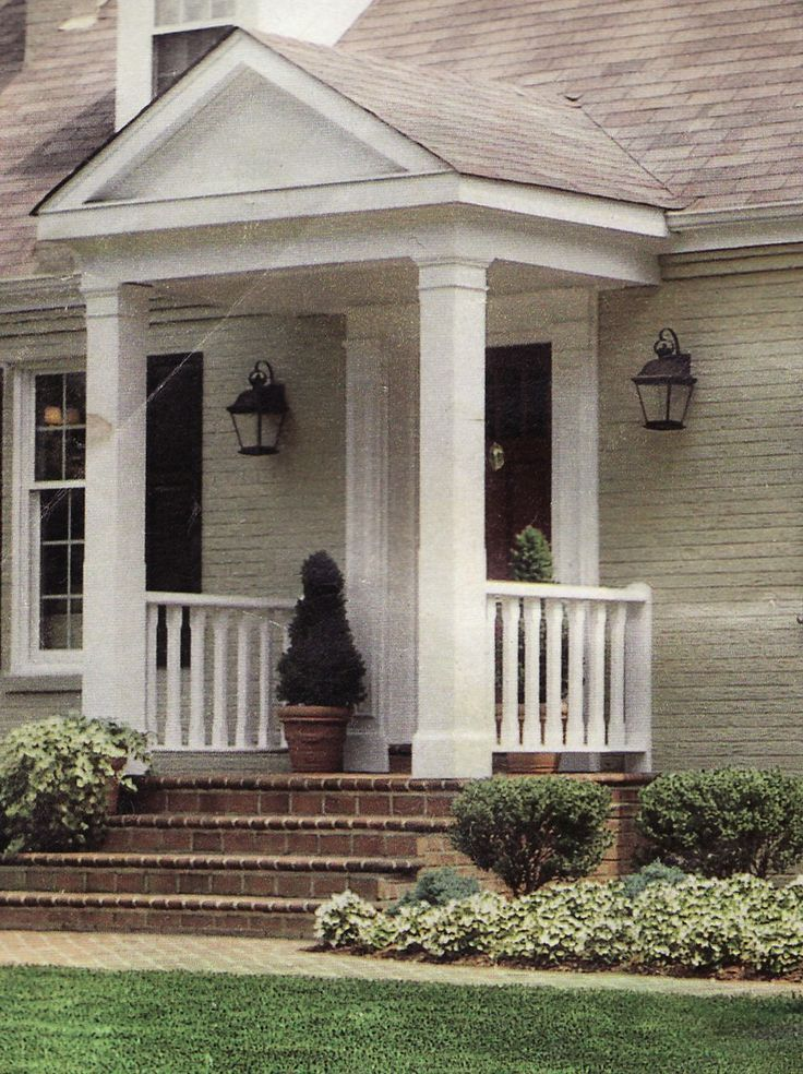 Front Door Columns Part - 20: Majestic Small Front Porch Designs Simple White Pot Green Brown Black Ideas  Pinterest