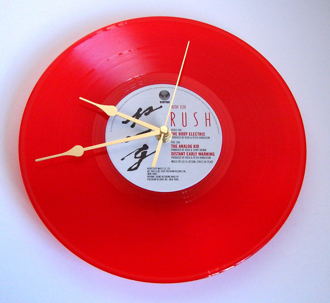 Rush Vinyl Record Clock Made From Original Recycled 10 Inch Red Coloured Vinyl Great Gift For Fans Guys Girls Pro Vinyl Record Clock Record Clock Vinyl Records