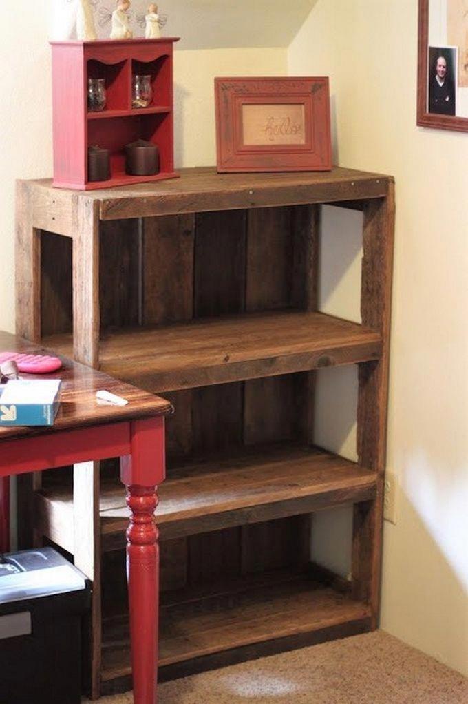 Diy Pallet Bookshelf Bedroom Decor Ideas Wooden Pallets Project Plans