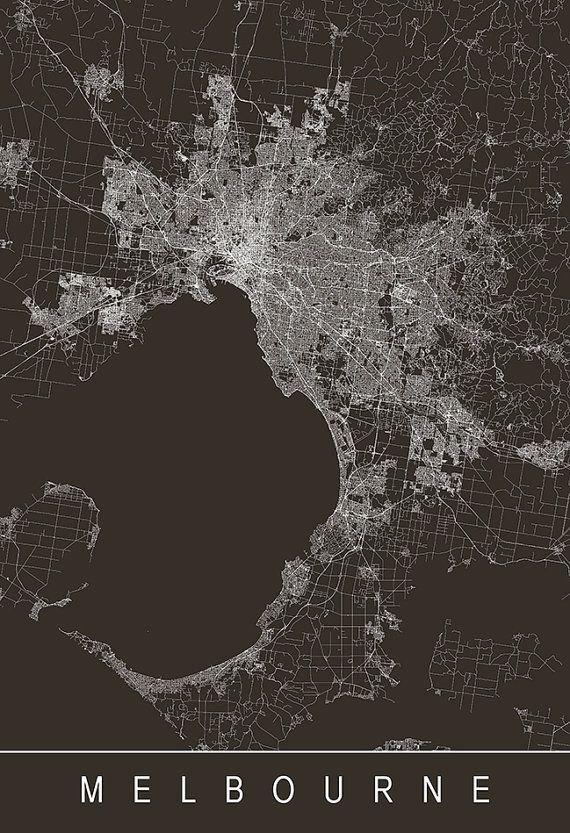 MELBOURNE MAP ART - Modern City Map Print Art - Australia ... on
