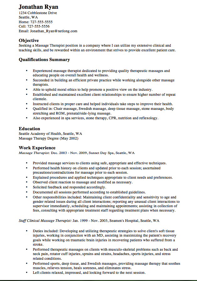 Perfect Spa Therapist Cv  HttpResumesdesignComPerfectSpa