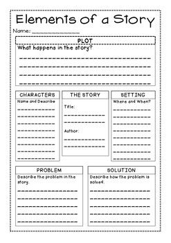 Story Elements Graphic Organizer 1st Story Elements Graphic
