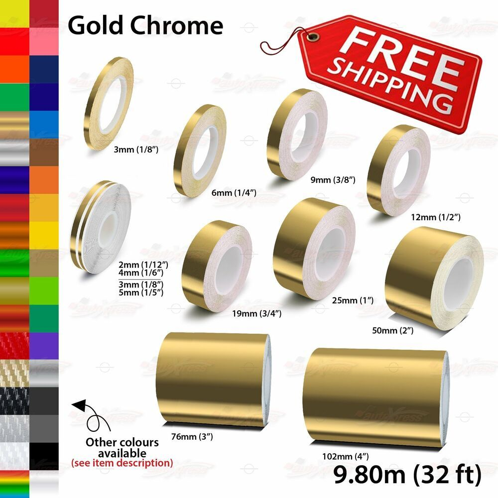 Gold Chrome Roll Pin Stripe Body Pinstriping Trim Line Tape Decal Vinyl Stickers Unbrandedgeneric Gold Chrome Gold Tape Chrome