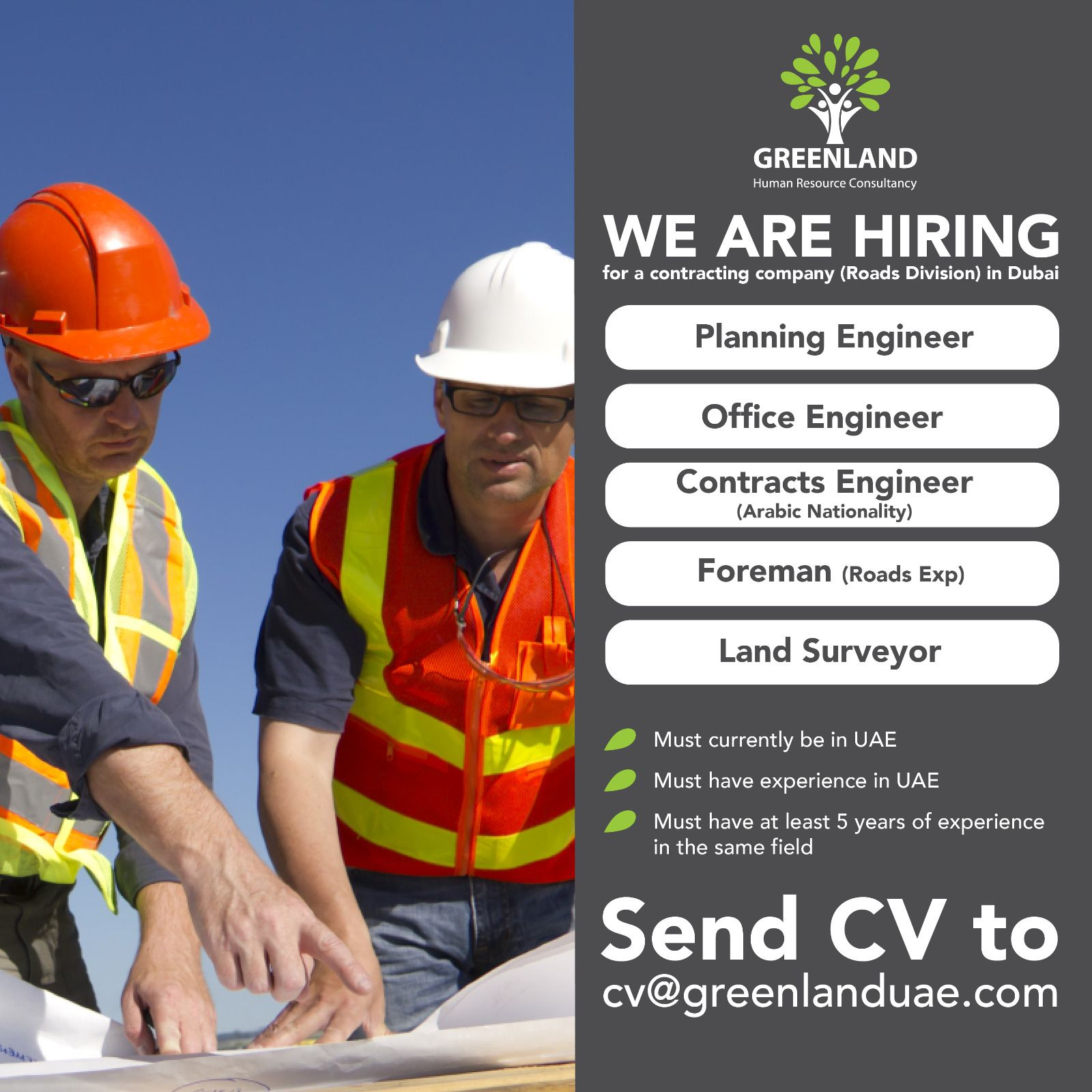 We Are Hiring For A Contracting Company Roads Division In Dubai Planning Engineer Office Engineer Land Surveyors Contracting Company We Are Hiring