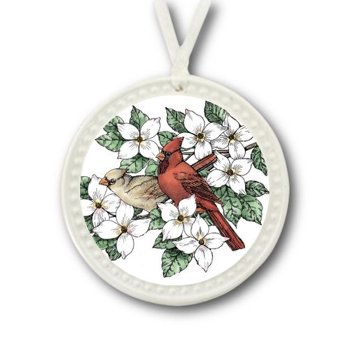Cardinals in Dogwood Ornament