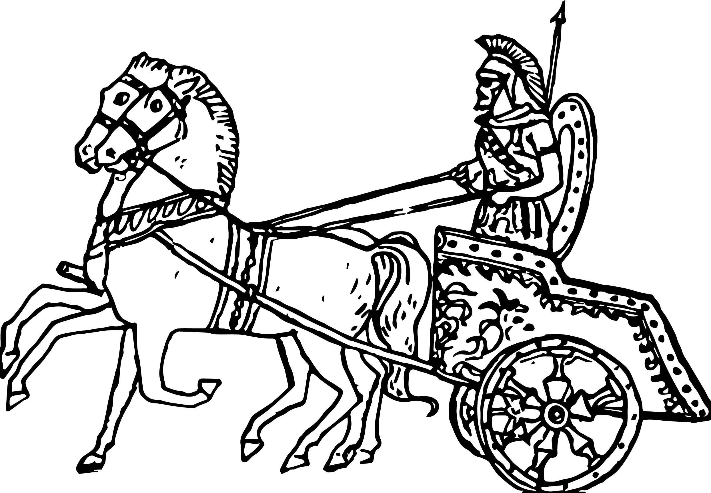 Ancient Roman Chariot Racing Coloring Page In