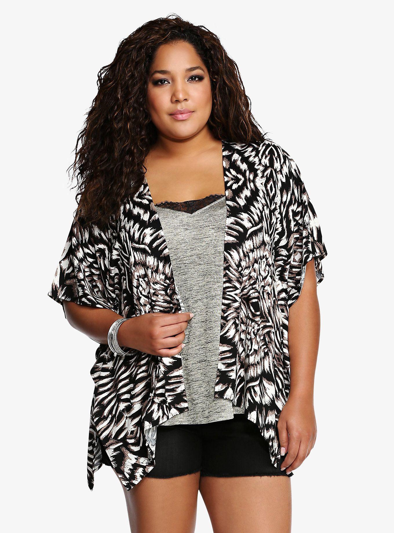 342ce8a32e Abstract Zebra Print Kimono | Torrid Finds | Kimono, Trendy plus ...