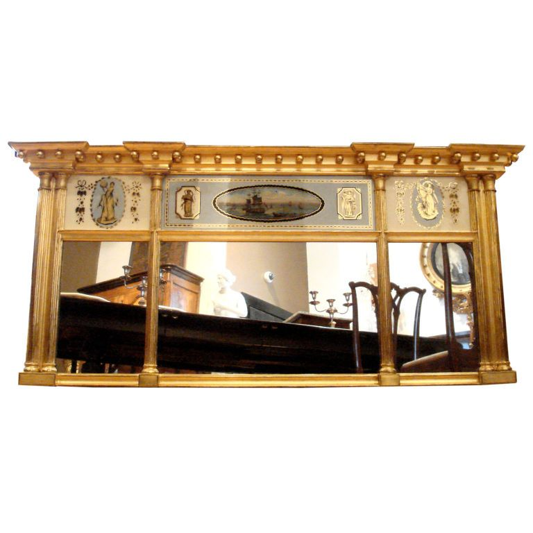 Federal Period Giltwood Overmantle Mirror 1820 Through