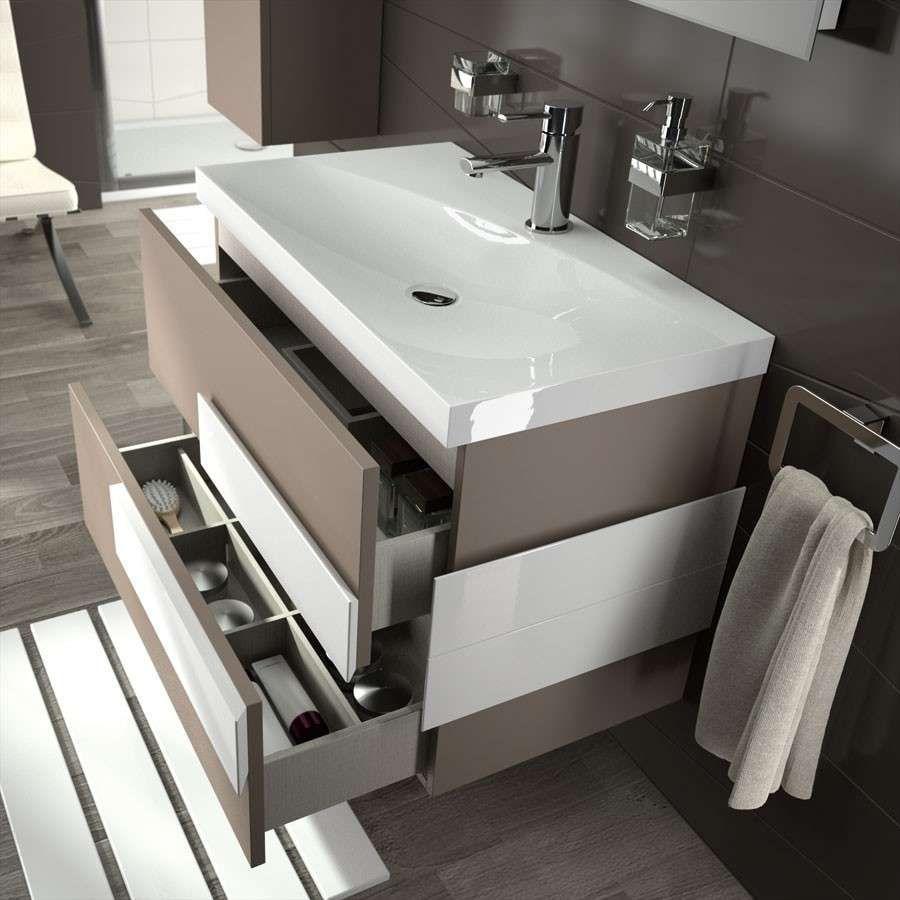 Badezimmer Design Ideen Offenen Regal Unterhalb Der Arbeitsplatte Zwei Waschbecken Sitzen Uber Eine Schwimmen Badezimmer Badezimmer Design Tolle Badezimmer