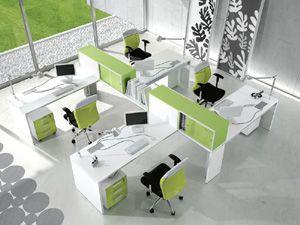 Composition atlante bureaux colorés vert anis et ambiance ludique