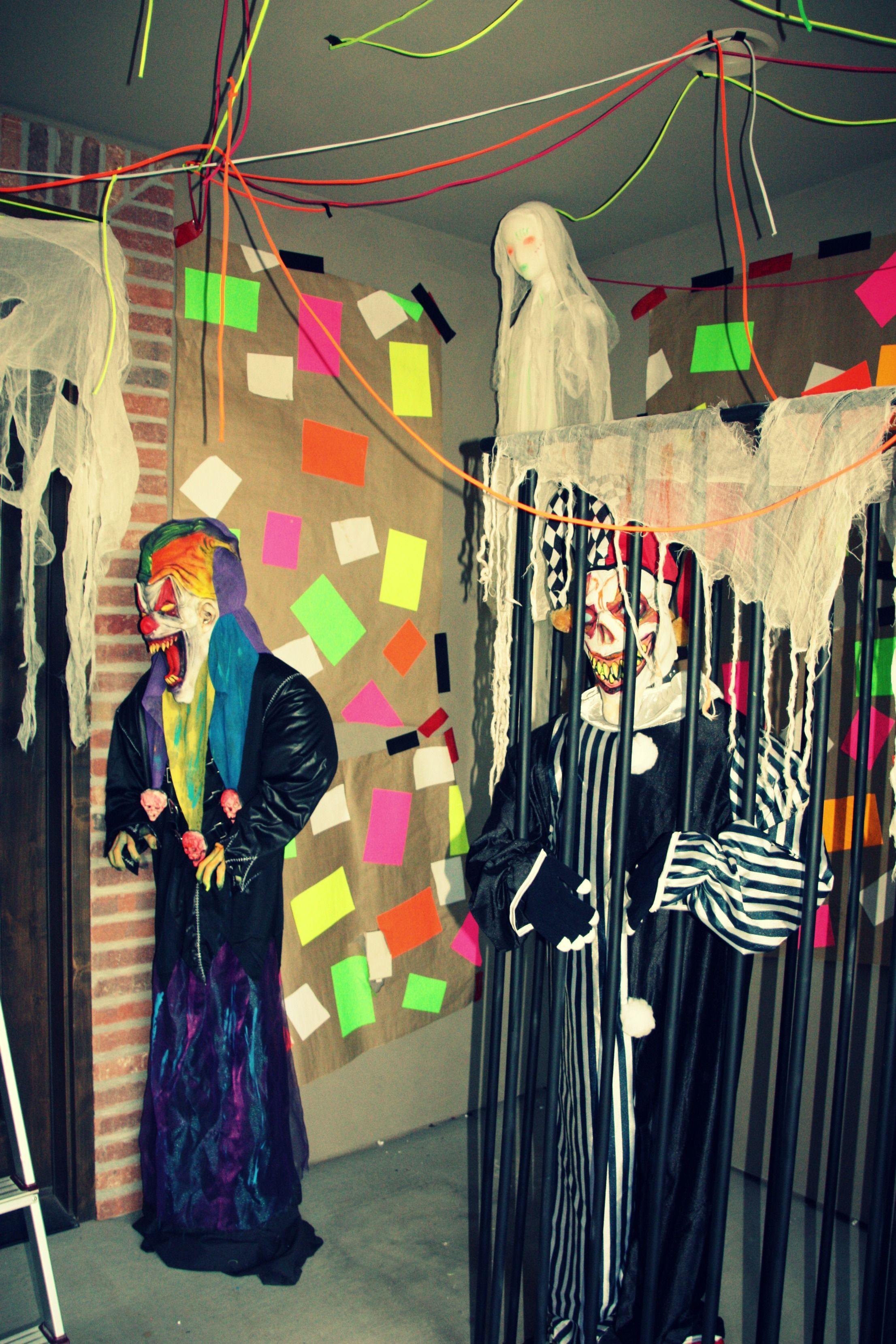 Clowns Black Light Use White Neon Colors Halloween Circus Creepy Carnival Halloween Props