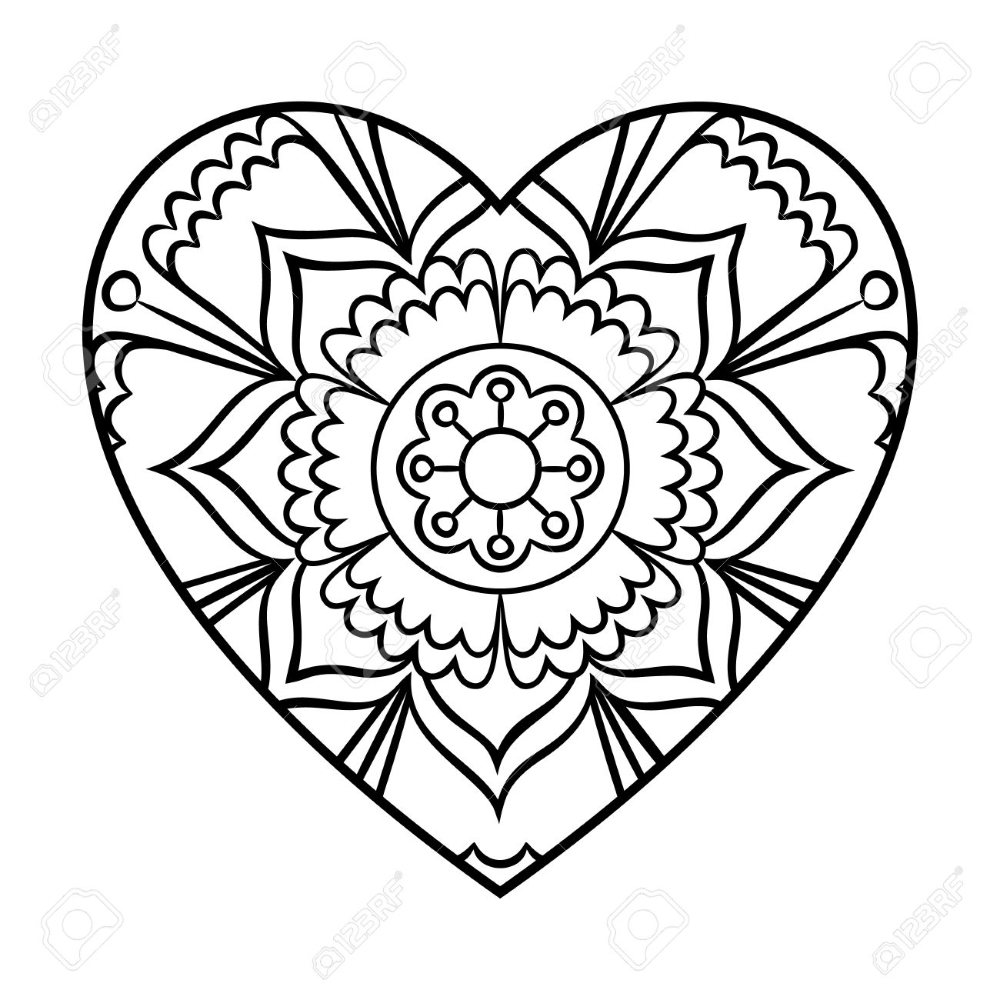 Doodle Heart Mandala Coloring Page Outline Floral Design Element In 2020 Heart Coloring Pages Mandala Coloring Shape Coloring Pages