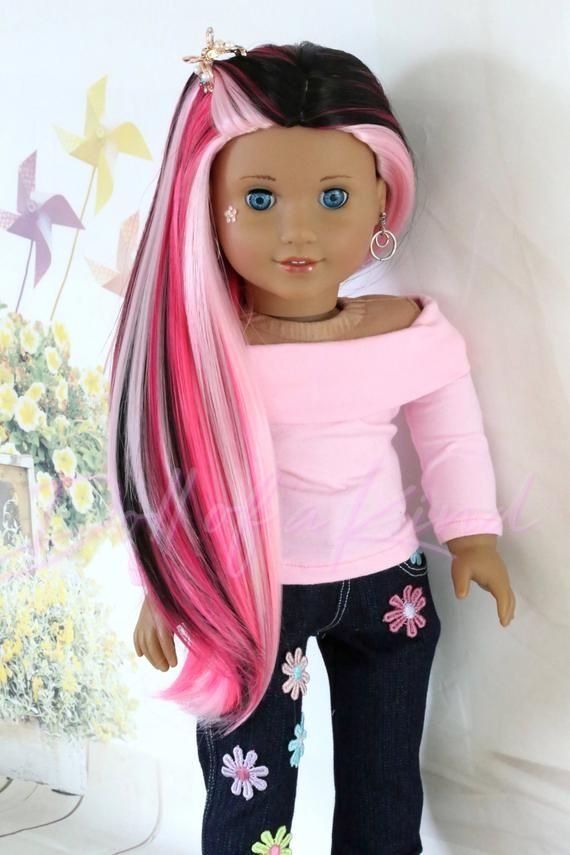 Custom American Girl doll Furious Pink Wig - Fits most 18'' dolls Gotz - Journey - Our Generation - My Life - Australian - Reina Paola #americangirldollcrafts