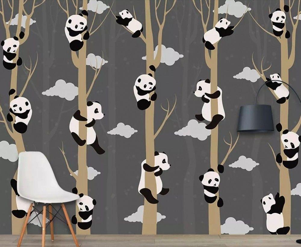 Cartoon Pandas With Tree Branches Wallpaper Mural In 2021 Tree Branch Wallpaper Tree Wallpaper Mural Mural