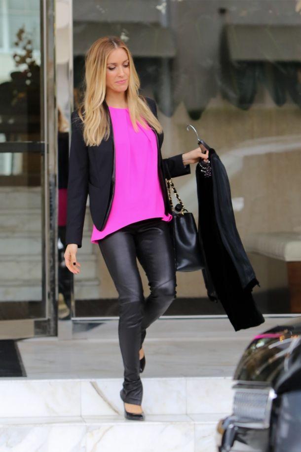 064b614129a9 Kristin Cavalari - Leather Trousers + Black Blazer + Fuschia Top ...