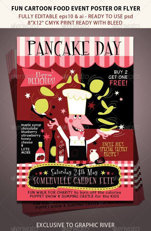 Pancake Day or Food Festival Event Food festival, Event flyers - baseball flyer