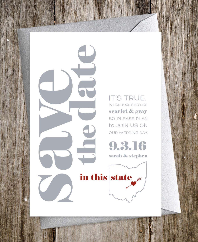 Custom Collegiate Modern Wedding Invitations  Ohio State, Columbus Skyline  By