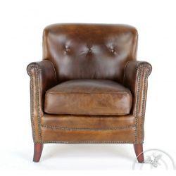 fauteuil club cuir marron vintage middletown - Fauteuil Club Paris