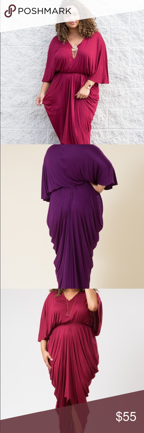 00c8ccaf9e728 Plus Size Goddess Dress in Magenta Magenta v-neck 3 4 sleeve goddess maxi  dress with rubber waistline. Unlined Made in USA Fabric Content  95%  Polyester 5% ...
