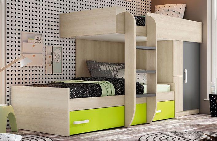 Dormitorio juvenil con Cama tipo tren compacto, fabricado con ...