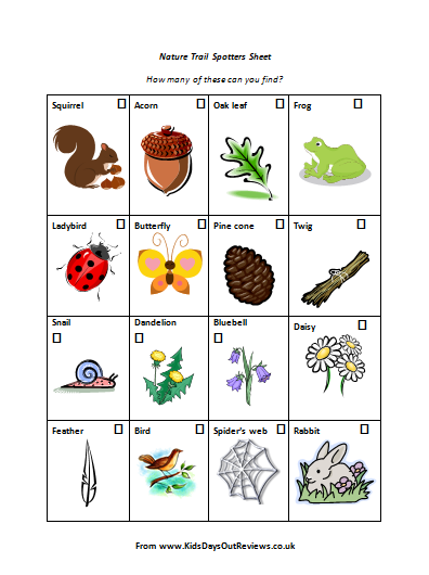 nature trail checklist free download nature trail spotters sheet for children - Kids Images Free Download