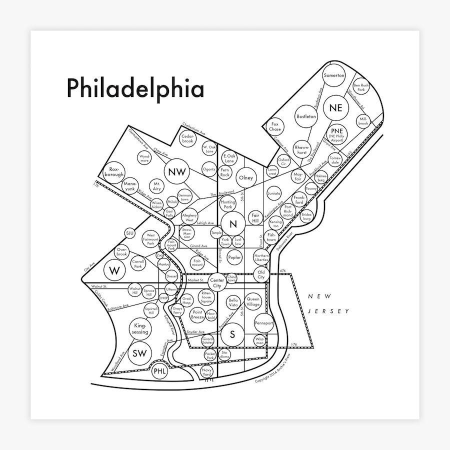Philadelphia Map Print | Gift Ideas | Pinterest | Philadelphia map ...