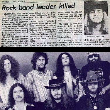 Today in 1977, 3 members of Lynyrd Skynyrd, including Ronnie Van Zant were killed in a plane crash in Gillsburg, MS