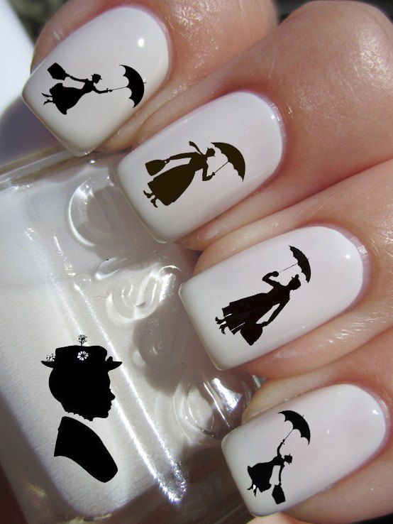 Mary Poppins Silhouette Waterslide or Peel & Apply Nail Art Decal ...