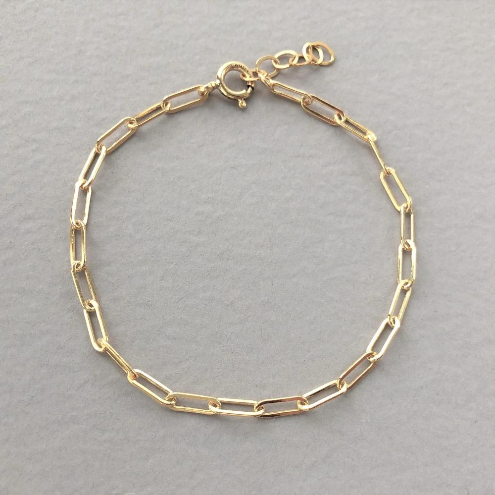 925 Sterling Silver Vintage Elongated Cable Link Bracelet 7 34