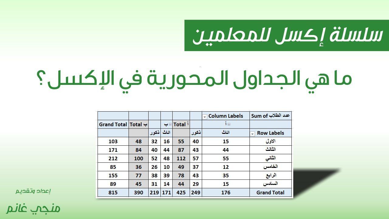 اكسل للمعلمين ح25 ما هي الجداول المحورية Row Labels Labels Column