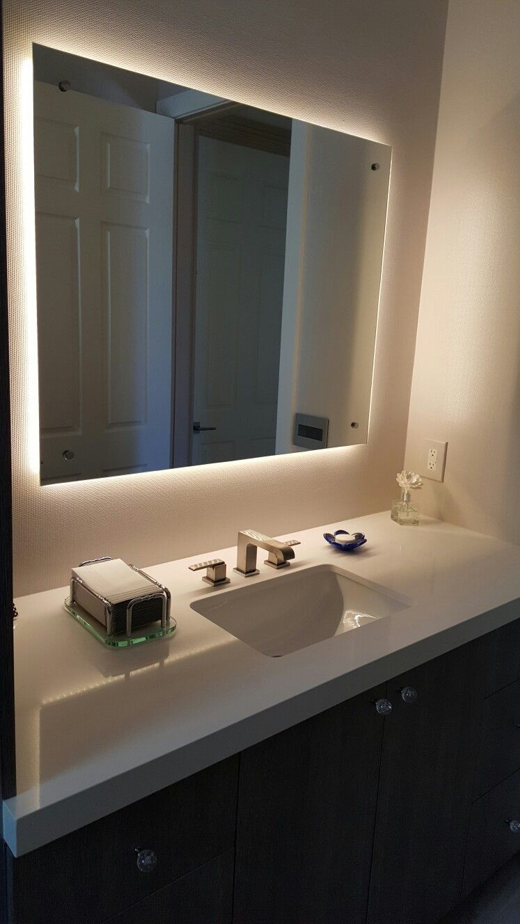 Led backlight mirror bathroom pinterest for Lights for bathroom mirrors