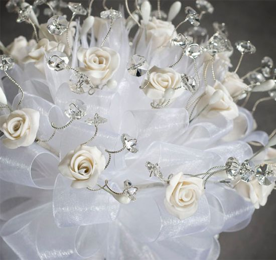 Crystal And White Wedding Theme: Rose Crystal Wedding & Quinceanera Bouquet