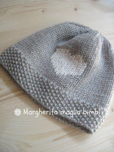 Berretto pura lana merino superwash con cuore ricamato - berretto bambino -  cappello neonato f853dfb0a14d