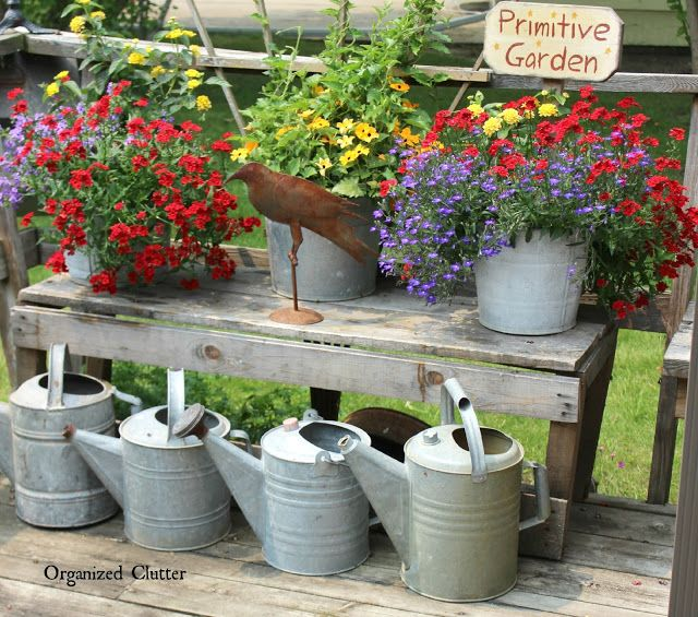 15 Stunning Container Vegetable Garden Design Ideas Tips: Junk Garden Vignettes In The Corner Of The Deck