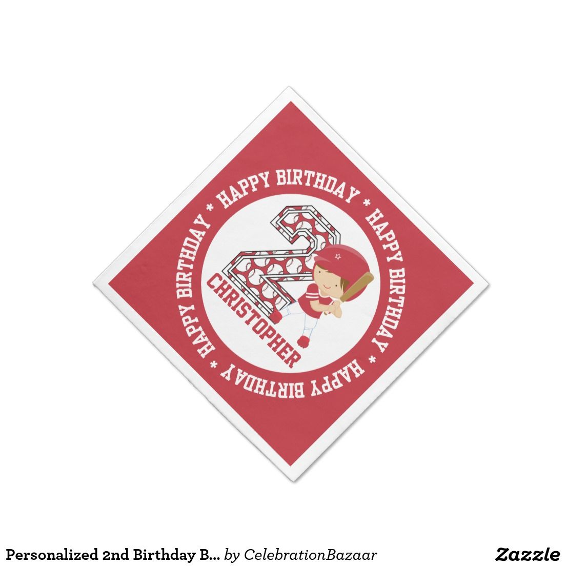 Personalized 2nd Birthday #Baseball Batter Red Standard