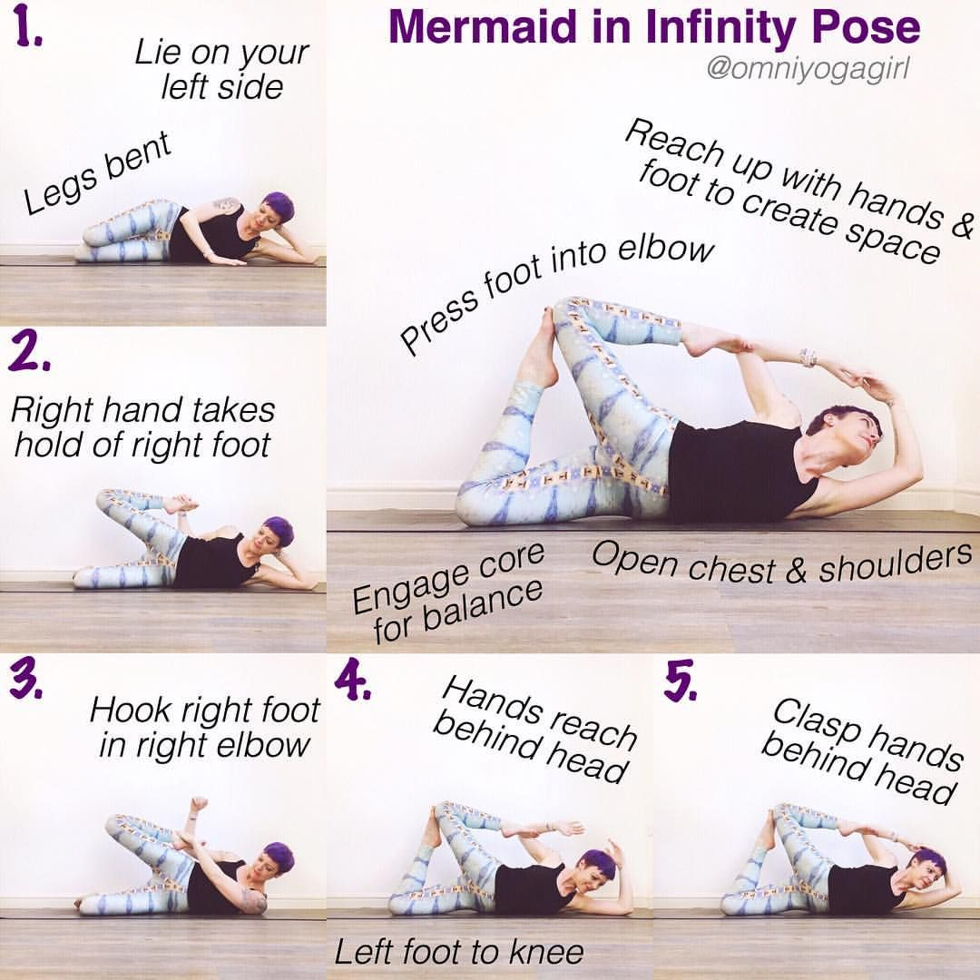 ... ✨ Mermaid In Infinity Pose Tutorial ✨ #omniyogagirltips ✨ Warm up with  some backbends & shoulder stretches before you begin 🙏🏻 . 1. Start…
