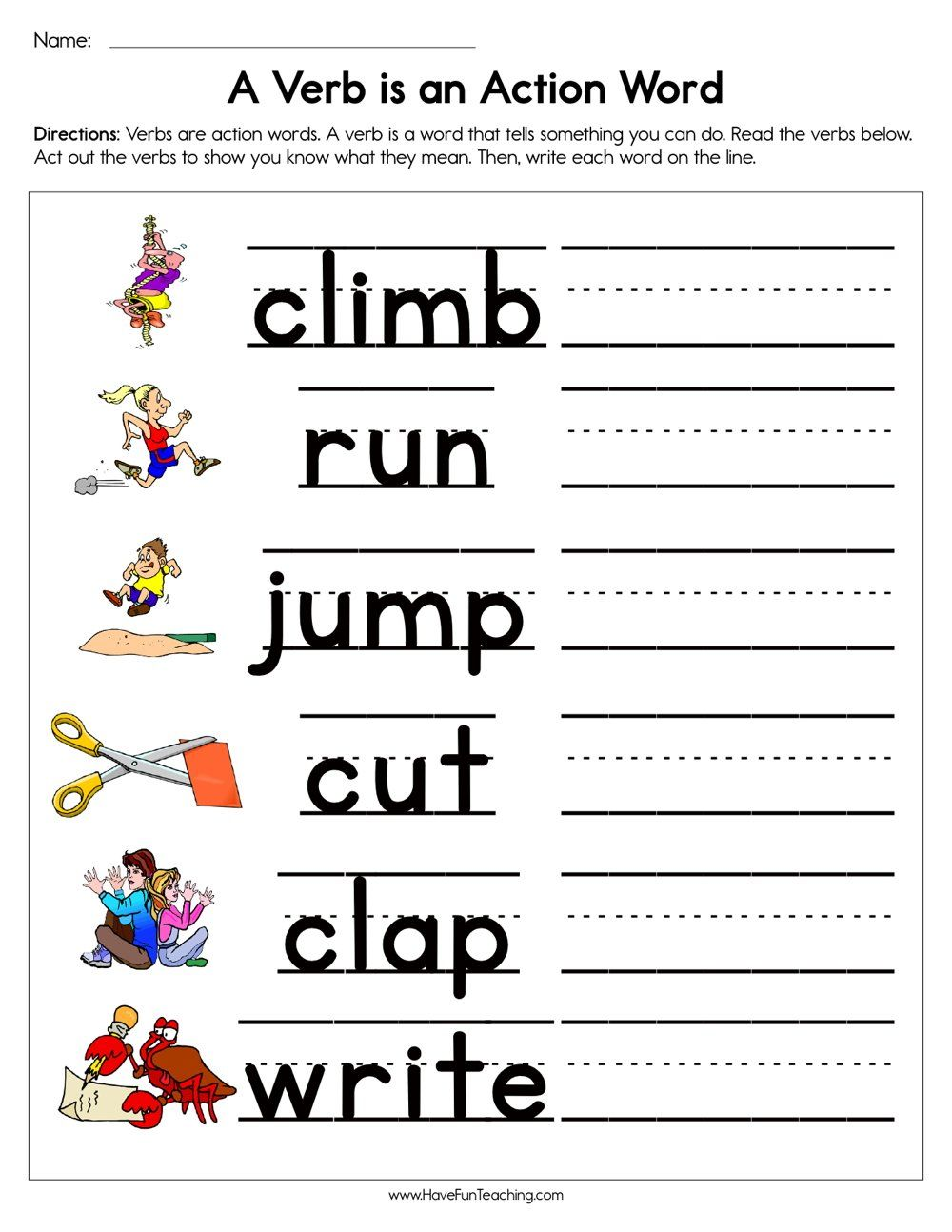 A Verb is an Action Word Worksheet   Action verbs worksheet [ 1294 x 1000 Pixel ]