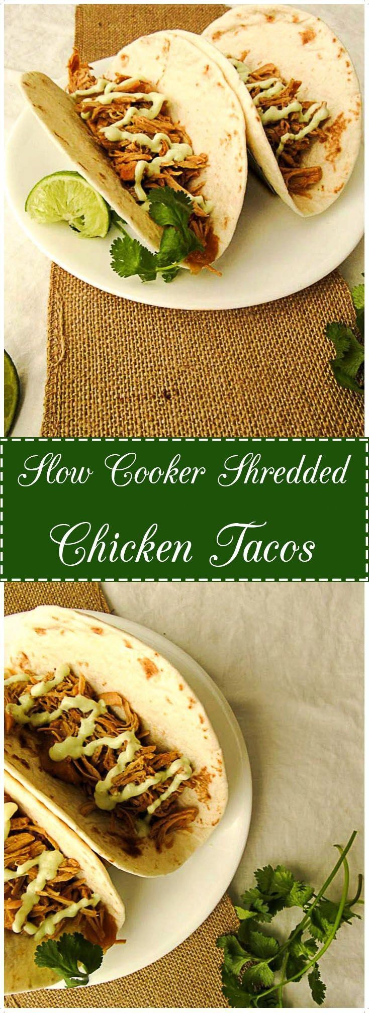 Enjoy a low-fuss meal with these Slow Cooker Shredded Chicken Tacos. They are super juicy, tender and packed with flavor. #healthycrockpotrecipes #shreddedchickentacos Enjoy a low-fuss meal with these Slow Cooker Shredded Chicken Tacos. They are super juicy, tender and packed with flavor. #healthycrockpotrecipes #shreddedchickentacos