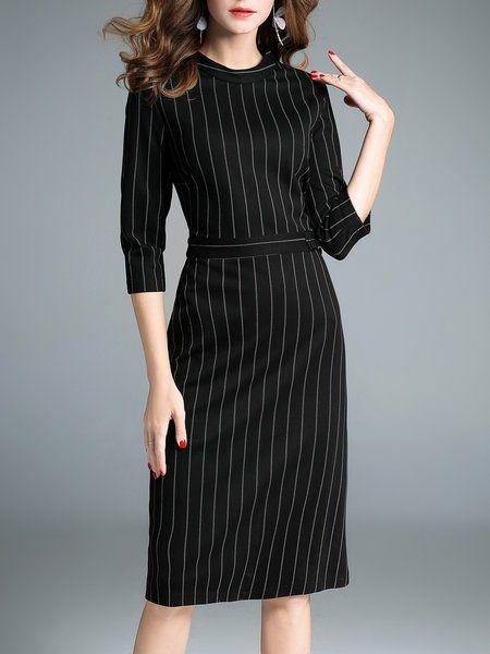 c23a6a6708c Shop Midi Dresses - Black Stripes Half Sleeve Printed Cotton-blend Work  Dress online. Discover unique designers fashion at StyleWe.com.