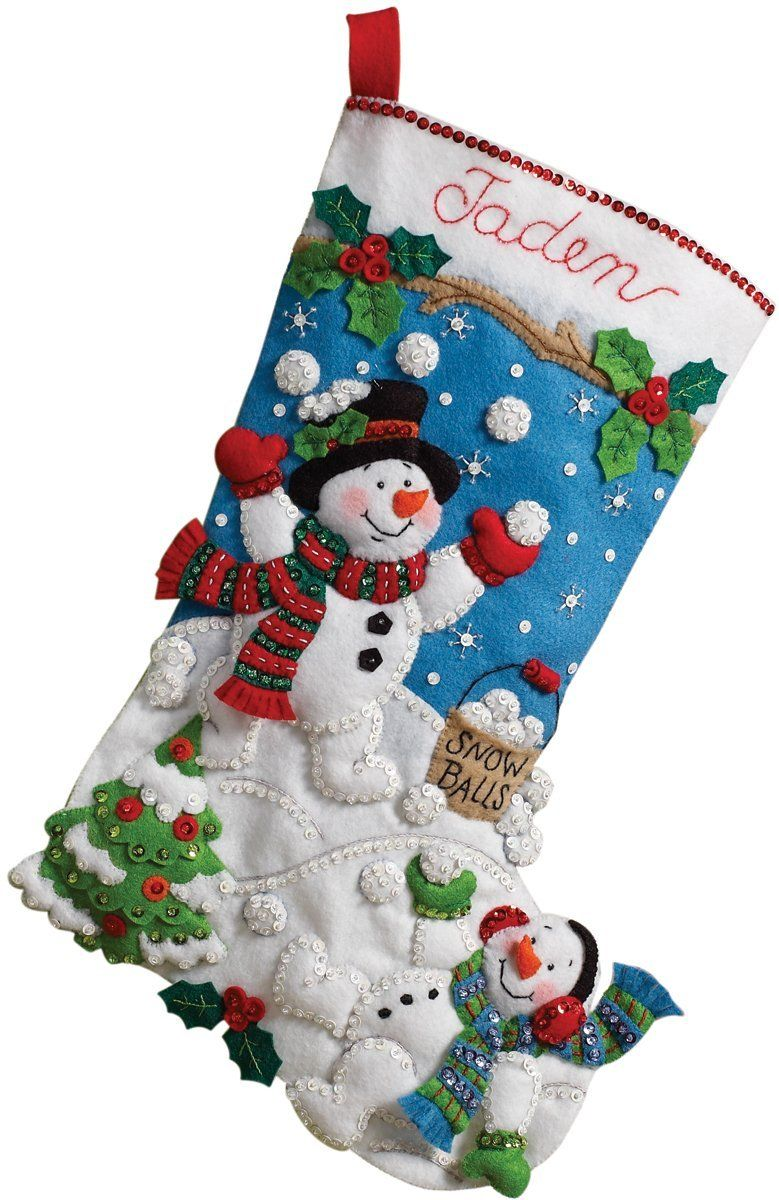 "Bucilla Felt Stocking Applique Kit 18/"" Long-Elegant Christmas"