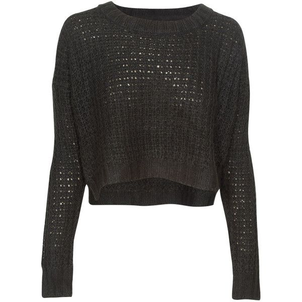 Qed London Loose Knit Cropped Jumper in Black | Cropped knit