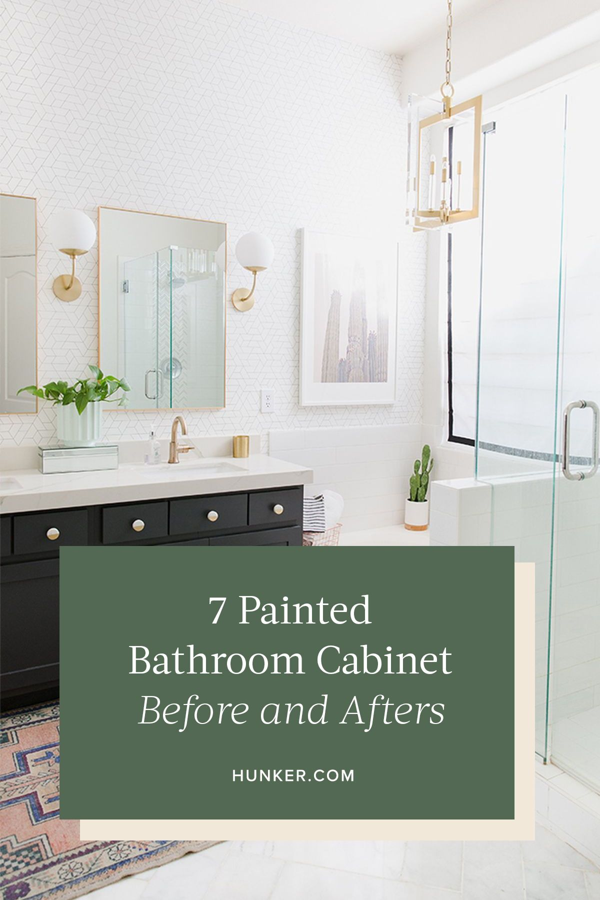 7 Painted Bathroom Cabinet Before And Afters That Ll Make You Run Out For Color Swatches Hunker Painting Bathroom Cabinets Painting Bathroom Grey Countertops